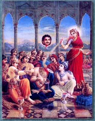 Mohini (Vishnu in disguise) cuts Rahu's head