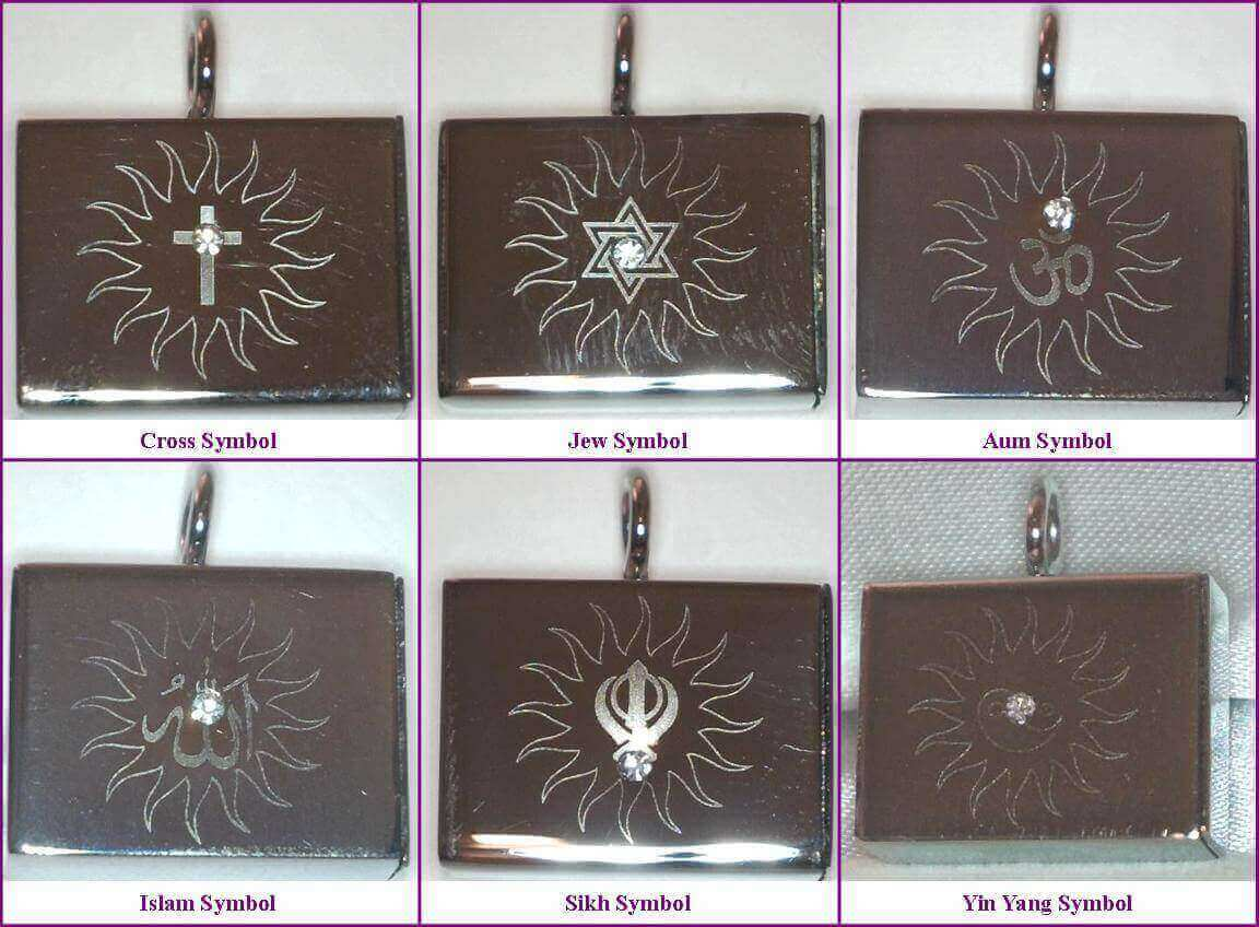 Talismans Casings in Six Designs Aum Cross Jew Islam Sikh Yin to choose from